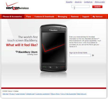 Der erste Blackberry mit Touchscreen macht zumindest auf Bildern - hier die Web-Seite von verizonwireless - eine schicke Figur.