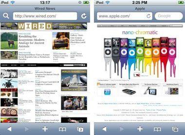 Safari auf dem iPhone: heute (li.) und mit Firmware 2.2 (re.), Quelle: Wired