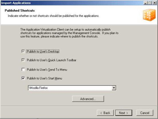 Aus der Sicht des Endbenutzers verhalten sich virtualisierte Anwendungen so als seien sie lokal installiert. Dazu tragen auch die Programm- verknüpfungen auf dem Desktop bei.