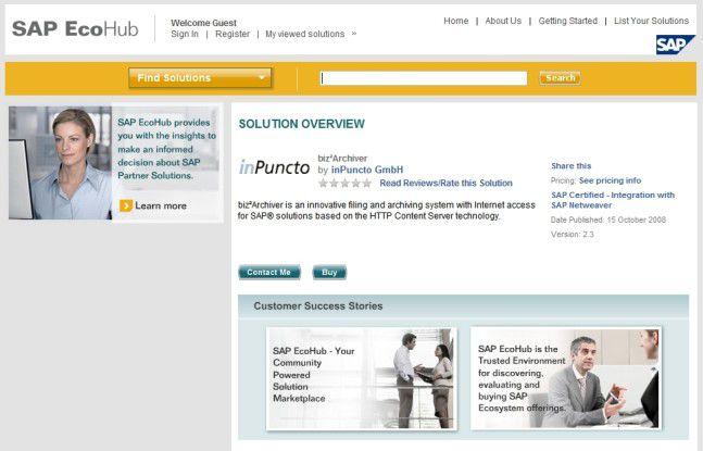 Anwender sollen online im EcoHub künftig leichter Zusatzlösungen für ihre SAP-Systeme finden.