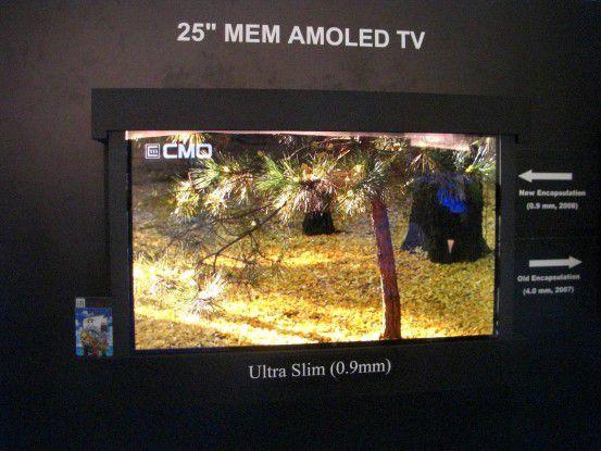 Chi Mei EL zeigte ein OLED-Display, das knapp einen Millimeter dick ist.