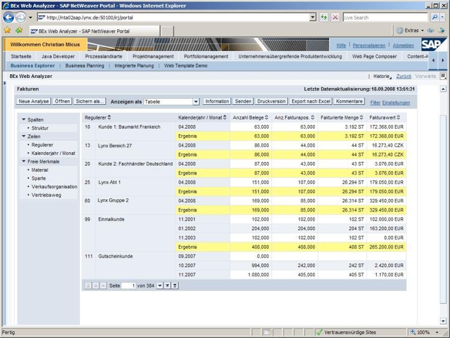Bild wird der bex web analyzer ins portal eingebettet for Sap jobs gehalt