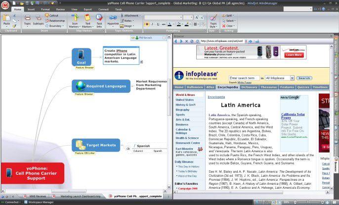 Mit der aktuellen Version von MindManager 8 lassen sich neben Office-Dokumenten nun auch Web-Suchen und Datenbankinhalte in der Map darstellen.