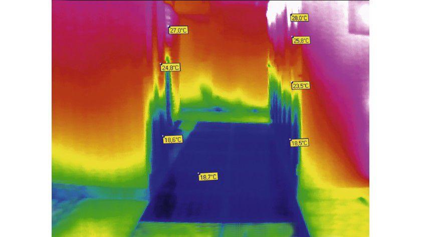 Thermografie: Wer ganz konsequent die Temperaturverhältnisse in seinem Serverraum oder Rechenzentrum diagnostizieren will, dem helfen Fotos mit der Wärmebildkamera. (Quelle: Knürr)