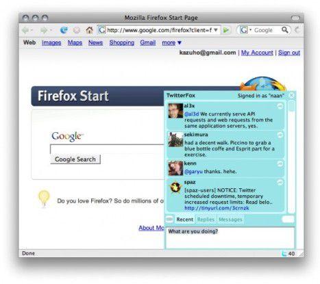 Der Twitter-Client Twitterfox ist ein Browser-Add-on, das Mozilla im Rahmen der Fashion your Firefox-Initiative empfiehlt.