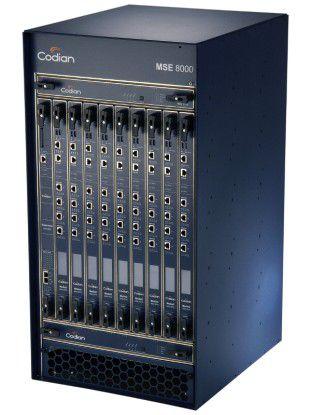 An Stelle der Tandberg Codian IP GW 3500 kann in großen Unternehmen auch die Codian-MSE-8000-Plattform mit benutzerspezifisch konfigurierbaren Blades zum Einsatz kommen.