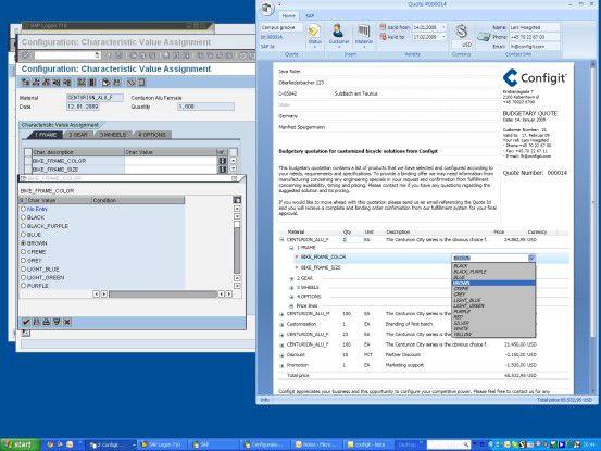 Configit Quote (rechts) lässt sich mit dem SAP Variant Configurator (links) verbinden.