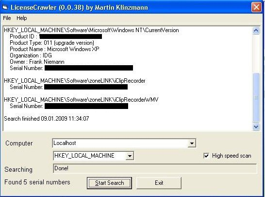 License Crawler sammelt Lizenzschlüssel und präsentiert sie strukturiert in einem Fenster.
