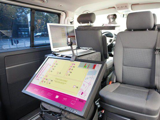 Blick in ein LTE-Versuchsfahrzeug (Foto: T-Mobile)
