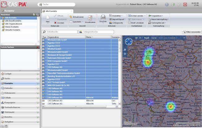 CAS Pia bietet eine Ansicht der regionalen Verteilung von Kunden in der CRM-Datenbank.