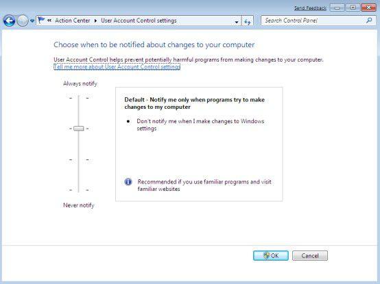 Kontrolle: Unter Windows 7 lässt sich die UAC feiner einstellen.