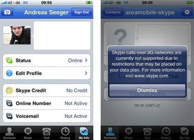 Natives Skype auf dem iPhone ermöglicht angeblich auch UMTS-Telefonate.
