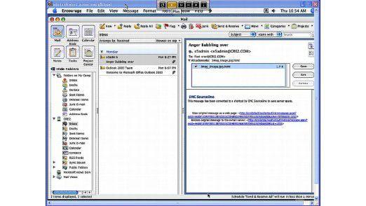In EMC SourceOne gelagerte Datenbestände werden im E-Mail-Client (hier Outlook) über die Ordnerstruktur dargestellt.