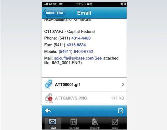 """Der """"Mobile Office iPhone Client"""" von Sybase unterstützt auch Lotus-Domino-Nutzer."""