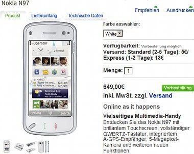 Das Nokia N97 kommt in Deutschland für 649 Euro in den Handel.