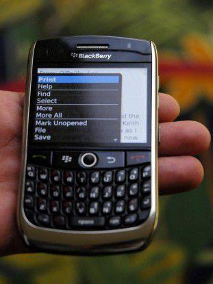 Erweitert: HPs CloudPrint-Client fügt den Kontextmenus der Blackberry-Anwendungen eine Option zum Drucken hinzu.