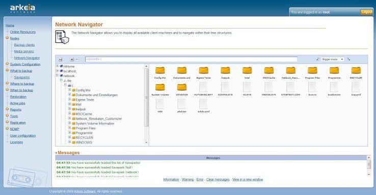Über den Network Navigator hat der Administrator remoten Zugriff auf die Client-Dateien.