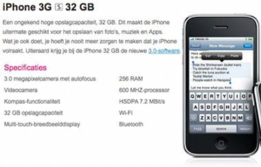 600-MHz-CPU und 256 MB Arbeitsspeicher: Technische Daten des iPhone 3G S auf www.t-mobile.nl