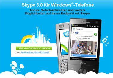 Die Anwendung Skype für Windows Mobile 3.0 wurde erst Mitte 2009 vorgestellt.