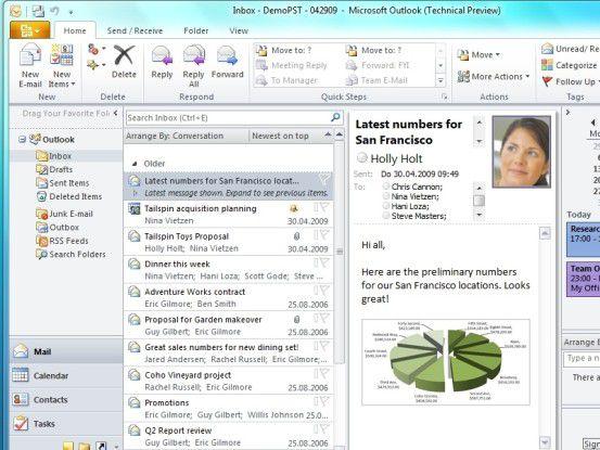Outlook 2010 erscheint mit der Oberfläche, die Anwender von Word und Excel schon kennen.