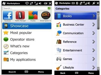 Die (vorläufige) mobile Ansicht des Windows Marketplace for Mobile.