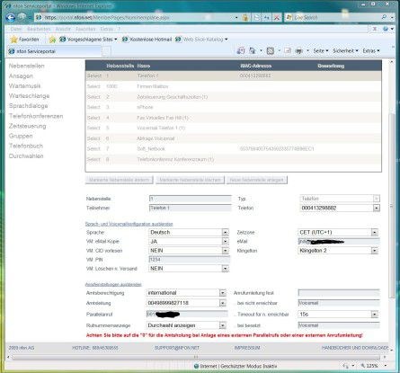 Im Web-Portal kann der User selbst die TK-Anlage bis ins Detail konfigurieren.