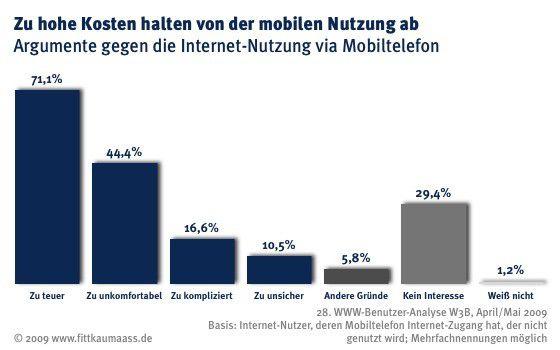 Was Nutzer vom Mobilen Internet abschreckt (Q: Fittkau & Maaß)