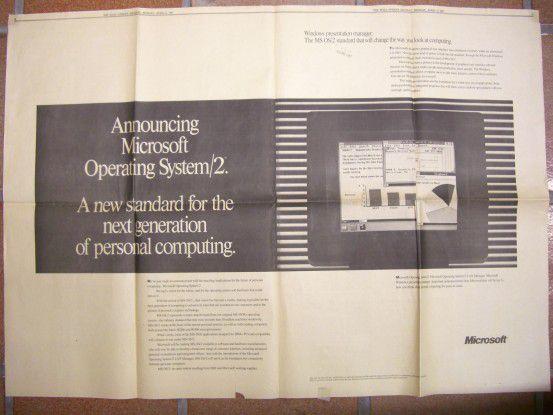 """Dieses Foto des Originals der Microsoft-Anzeige zu OS/2 aus dem """"Wallstreet Journal"""" vom 6.April 1987 hat uns der Leser Klaus Link zugesandt. Damals läutete die Gates-Company mal wieder eine neue Ära des Computing ein - alles würde anders, besser und schöner in der IT. Sechs Jahre später begrub Microsoft OS/2 zugunsten des eigenen Windows-Systems und ließ Abertausende von Anwender im Regen stehen."""