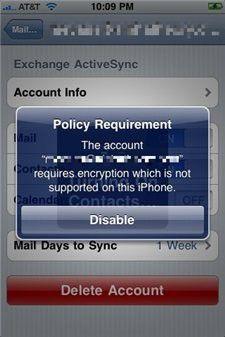 Wenn der Exchange-Server eine verschlüsselte Verbindung fordert, kommt auf dem iPhone und dem iPhone 3G nur eine Fehlermeldung Quelle: 9to5mac.com