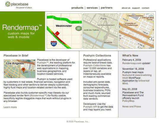 PlaceBase erlaubt es, Kartenmaterial mit verschiedensten Informationsebenen zu überlagern.