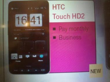 HTC Touch HD2 - Farbe und Schrifttype im Prospekt erinnern entfernt an T-Mobile.