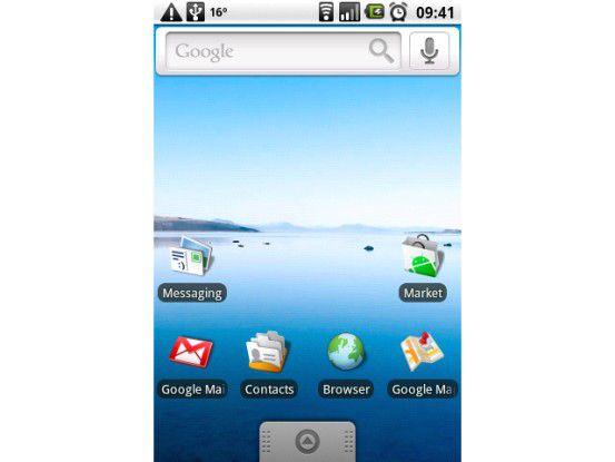 Der Startbildschirm von Android 1.6