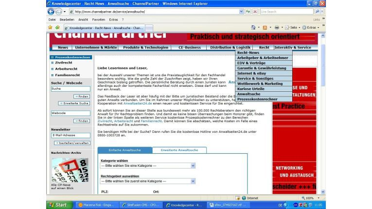 Kostenlos: die Suche nach einem Anwalt auf ChannelPartner.de
