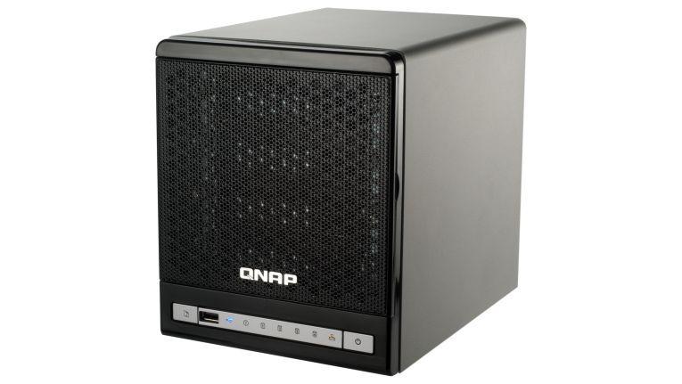 Das NAS-System TS-409 Pro Turbo von QNAP bietet Platz für vier 3,5-Zoll-SATA-Festplatten.