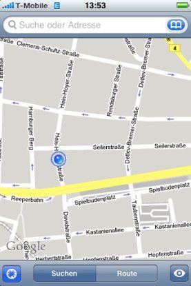 GPS und Navigation: Mit Firmware 2.0 bietet das iPhone eine genaue Ortsbestimmung am neuen iPhone 3G und recht genaue Werte für alte iPhones - zumindest in Ballungszentren.