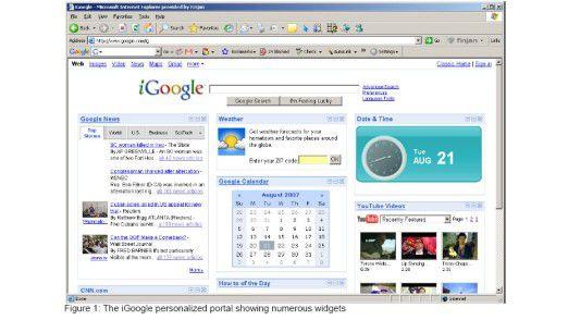 In ein personalisiertes iGoogle-Portal sind zahlreiche Widgets eingebunden.