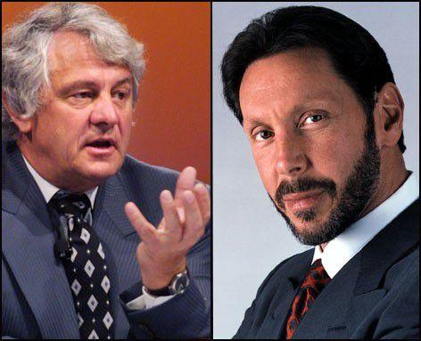Waren nie Freunde: SAP-Mitgründer Hasso Plattner (links) und Oracle-Boss Larry Ellison.