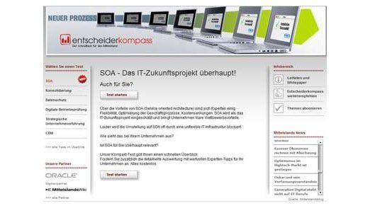 """Das Portal """"Entscheiderkompass.de"""" bietet einen kostenfreien Schnelltest, um das Potenzial einer SOA-Einführung in mittelständischen Unternehmen zu prüfen."""