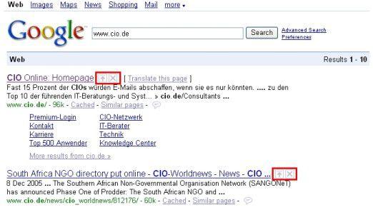 Mittels zweier kleiner Schaltflächen am rechten Rand der Suchtreffer bei Google.com lassen sich die Suchtreffer verschieben, löschen oder kommentieren.