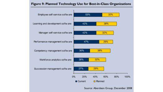 Erfolgreiche Firmen und ihr IT-Einsatz im Personalwesen - faktisch und geplant.