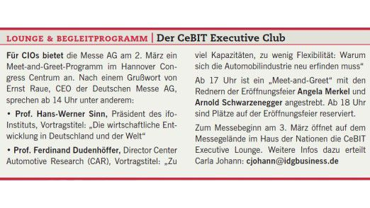Lounge & Begleitprogramm: Der CeBIT Executive Club.