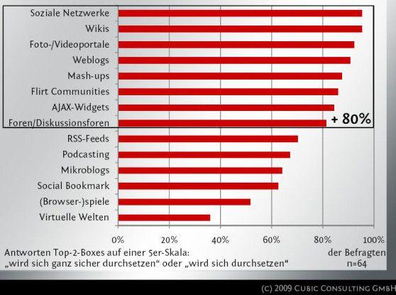 Nach Ansicht der von Cubic Consulting befragten Experten werden Unternehmen künftig im Bereich von Web-2.0-Technologien insbesondere soziale Netzwerke, Wikis, Video- und Fotoportale sowie Weblogs aufbauen.