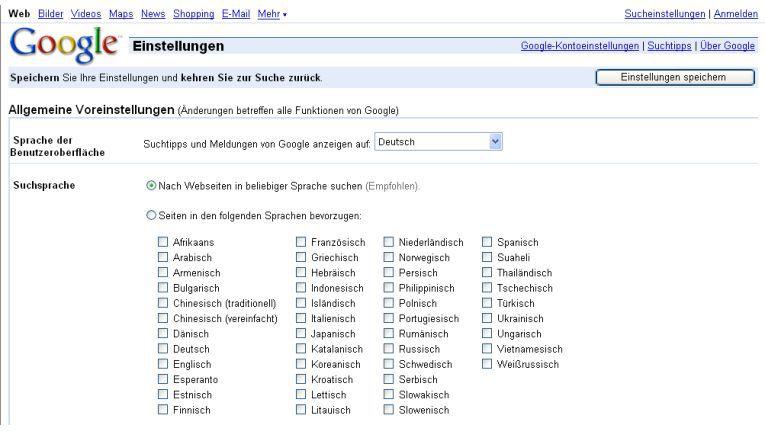 Immer für einen Schwerz gut: www.google.de/preferences