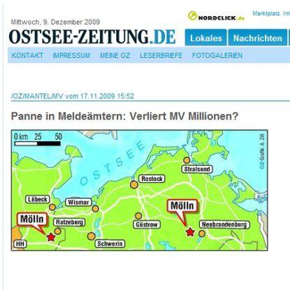 """Ein Screenshot der """"Ostsee-Zeitung"""", Rostock."""