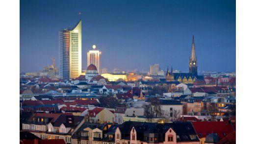 Panoramablick auf die Stadt Leipzig.