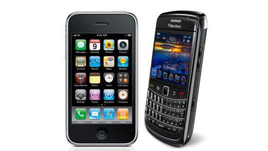 iPhone und Blackberrys können im Unternehmen durchaus nebeneinander existieren. (Quelle: Apple, RIM)