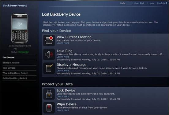 Portal: Das Webinterface von Blackberry Protect. (Quelle: RIM)