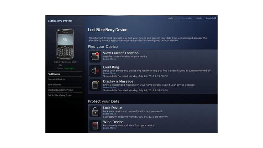 Portal: Das Webinterface von Blackberry Protect. (Quelle: RIM)