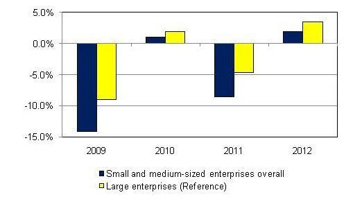 Kleine und mittlere Firmen litten besonders unter der Katastrophe. Das zeigt die IDC-Grafik deutlich.