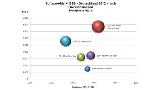 Es sind die ganz kleinen und die ganz großen Firmen, die den IT-Markt hierzulande tragen. Das zeigt diese Grafik deutlich.